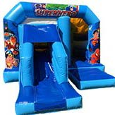 blue Super Hero themed Bouncy Castle with a slide at the front