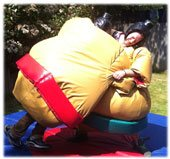 two adults wrestling wearing sumo suits